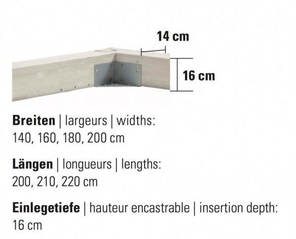Bett Factory-Line Bloc Rahmen Masse Details Grösse