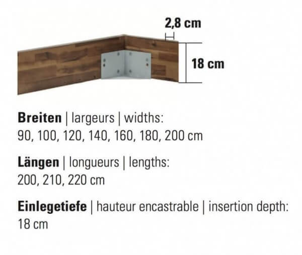 Bett Factory-Line Loft Rahmen Masse Details Grösse