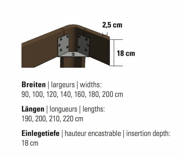 Hasen Bett Bettrahmen Fine-Line Syma 18 Masse Dimensionen
