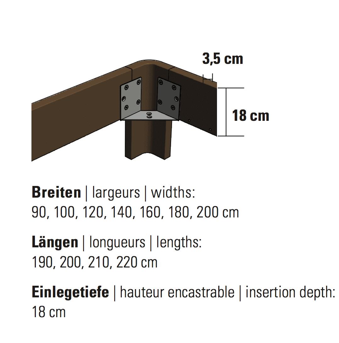 Hasena Bett Oak-Line Modul Rahmen Masse