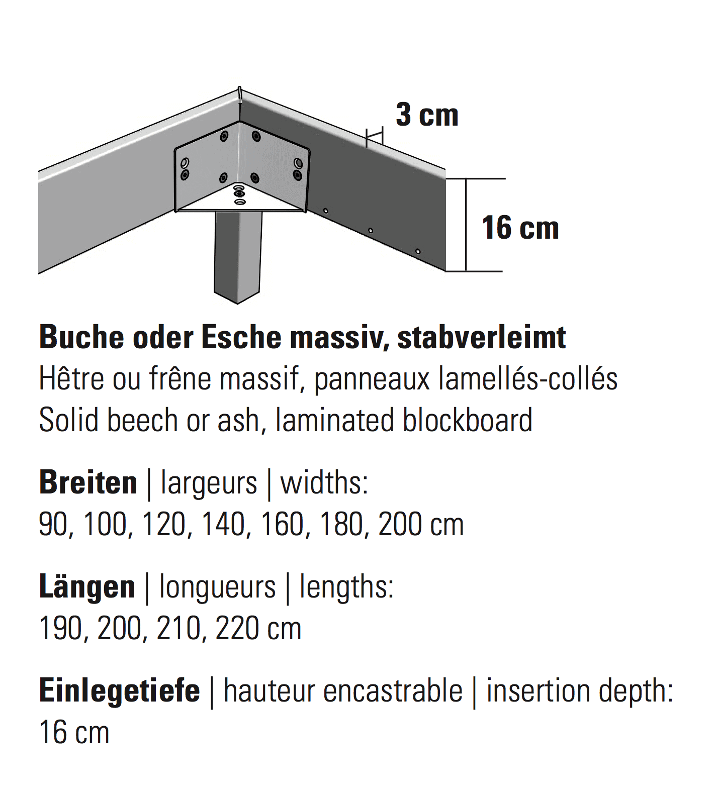 Hasena Bett Wood-Line Classic 16 Masse Rahmen