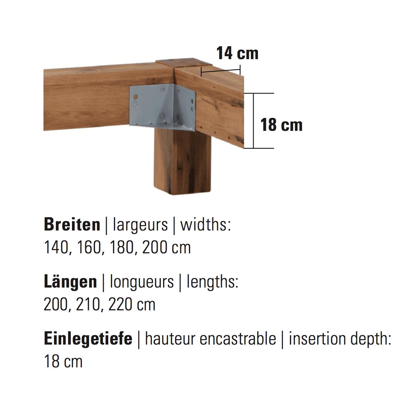 Hasena Bett Rahmen Oak-Wild Bormio Cortina Grösse Masse Dimension