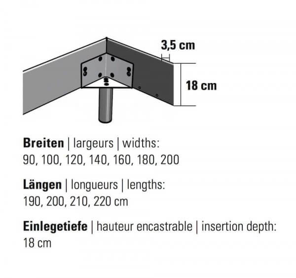 Hasena Bett Top-Line Rahmengrösse Dimension