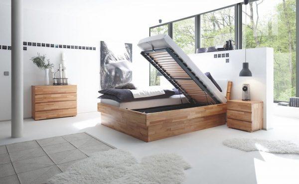 Bett Wood-Line Premium 18 Kernbuche massiv Practico-Box duetto